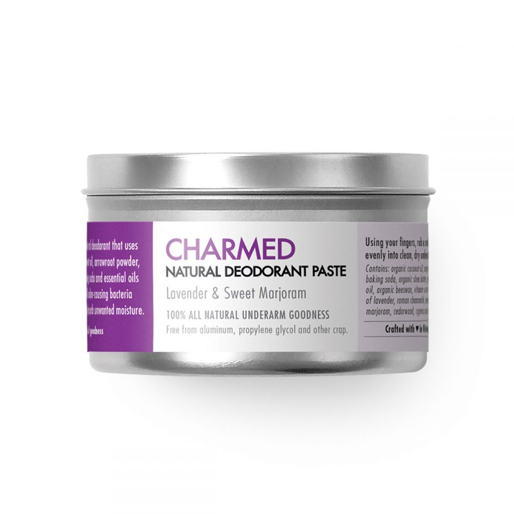 Natural Deodorant with Lavender and Sweet Marjoram - Charmed - Chemical free. Aluminum Free. Paraben Free. Made in Canada.