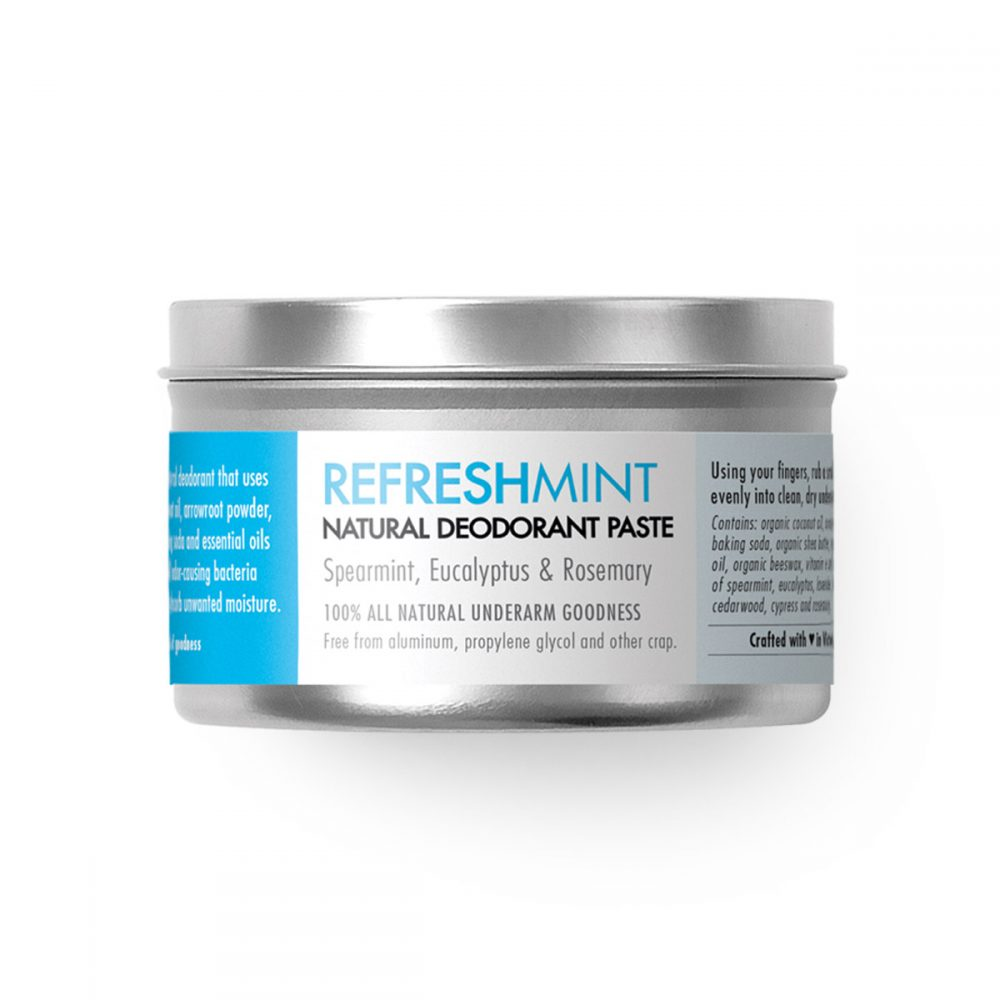 Natural Deodorant with Spearmint and Eucalyptus - Refreshmint - Chemical free. Aluminum Free. Paraben Free. Made in Canada.